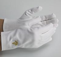 Gants Maçonniques Coton Blanc Equerre Compas Or & Acacia blanc