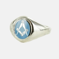 Bague Maçonnique Argent E&C Tête bleue clair ovale&fixe