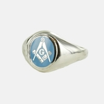 Bague Maçonnique Argent E&C lettreG Tête bleue clair ovale&fixe