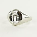 Bague Maçonnique Argent Arche Royale Tête noire ovale&fixe