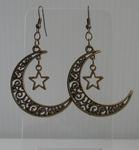 Boucles d'Oreilles Lune et Etoile
