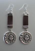 Boucles d'Oreilles Lune et Soleil Cuir N°2