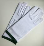 Gants blancs bordés de vert
