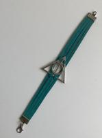 Bracelet cuir bleu Les reliques de la Mort Harry Potter