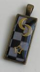 Pendentif Pavé Mosaïque Double Lune & Étoile Bronze