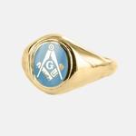 Bague Maçonnique Or 9ct E&C lettreG Tête bleue claire ovale&fixe