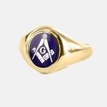 Bague Maçonnique Or 9ct E&C lettreG Tête bleue marine ovale&fixe