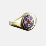 Bague Maçonnique Or 9ct Croix de Constantine Tête bleue ovale&fixe