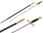 Epée fine garde or tréflée poignée noire