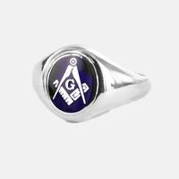 Bague Maçonnique Argent E&C lettreG Tête bleue ovale&fixe