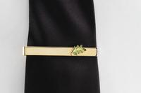 Pince de cravate Feuille d'acacia verte