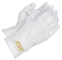 Gants Maçonniques Coton Blanc avec lac d'amour