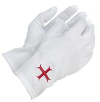 Gants Maçonniques Nylon Blanc Croix Templière