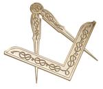 Équerre Compas Maçonnique en métal doré