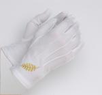 Gants Maçonniques  Coton Blanc Acacia Or