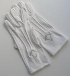 Gants Maçonniques Coton Blanc 3 piqures Equerre et Compas Argent