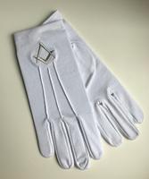 Gants Blanc Coton 3 piqures Equerre & Compas Argent
